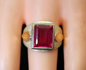 Nice NOS Heavy Vintage Estate 9g 10K Men's Large 8+Ct Simulated Ruby Ring s9
