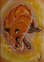 ACEO Red Fox Animal Nature Wildlife Autumn Landscape Artwork Pastel Painting Art