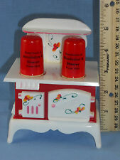 NEUDECKER & SHARRER 1950s Plastic Wood Cook Stove Sugar Bowl & S&P Shakers