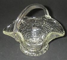 Collectible Glass Basket Miniature Clear Handled Basketweave Weave 3½� high