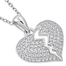 925 Sterling Silver Broken Heart CZ Pendant Necklace