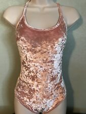 Forever 21 Low Back Pink Velvet Body Suit *NWT