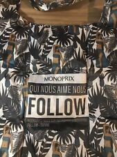 Monoprix French Folable Shopping Bag - Nylon Tote - Floral Hawaïenne - New