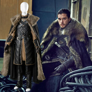 Game of Thrones Season 8 S8 Stark Jon Snow Costume Cosplay Halloween Outfit