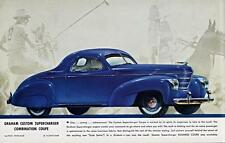 Print.  Blue 1938 Graham Custom Supercharger Combination Coupe Auto Ad