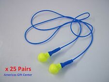 25 Pairs Earplugs 3M Push-Ins Corded Earplug Hearing Conservation In Poly Bag