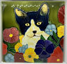 Large Hand Painted Ceramic Cat art tile 8 X 8 inches with easel back - Vintage