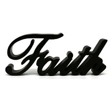 "Wooden Words Sign Free Standing ""Faith"" Tabletop/Shelf/Home Wall/Office Decor"