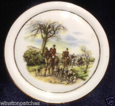 "ROYAL VALE LONGTON ENGLAND THE HUNTSMAN 3 7/8"" COASTER OR BUTTER PAT HORSES DOGS"