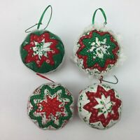 Vtg Hand Crafted Quilted Folded Star Ball Set 4 Christmas Tree Ornament Homemade