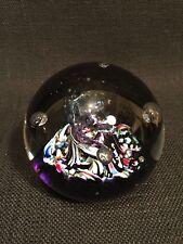 "Caithness ""Myriad"" Purple & Multi Coloured Swirl & Bubble Paperweight"