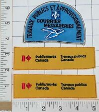 3 VINTAGE PUBLIC WORKS MESSAGERIES CANADA COURRIER PATCH LOT