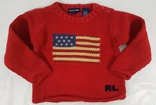 Ralph Lauren Toddler Girls Size 2T Red Sweater USA American Flag Made in Japan