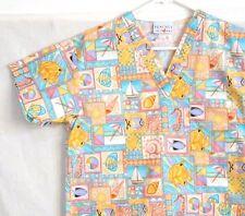 Peaches Scrub Top Size XSmall Beach Print Yellow Orange Medical Nursing Uniform