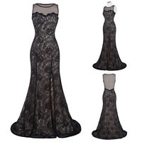 Noble Vintage Formal Bridesmaid Lace Wedding Gown Evening Prom Party Maxi Dress