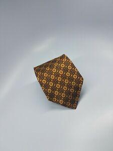 Robert Talbott Best of Class Silk Tie Gold Brown Blue Geometric 59.5 x 3.75