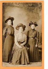 Studio Real Photo Postcard RPPC - Three Women in Great Hat