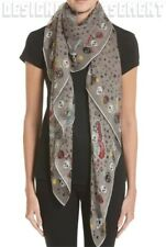 """ALEXANDER MCQUEEN taupe butterfly PARTY SKULL silk chiffon 52"""" scarf NWT Authent"""