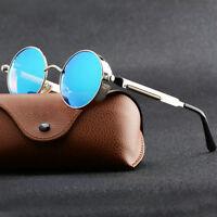 Retro Vintage Polarized Steampunk Sunglasses Fashion Round Mirrored Eyewear