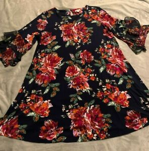 Cato Knee Length 3/4 Sleeve Floral Dress, 18/20 Womens