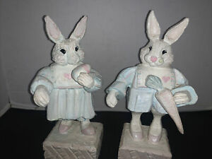 House of Hatten Easter Rabbit Figures with Carrot & Rabbit With Egg Lot Of 2
