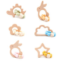 Star Beech Wood Silicone Bead Baby Teething Toy Stroller Teether Bracelet Rattle
