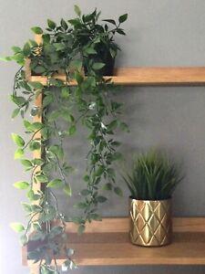 NEW ARTIFICIAL HANGING PLANT IN 9CM POT - POTTED FAUX LONG 70cm VINE PLANT DECOR