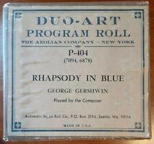 GERSHWIN'S RHAPSODY IN BLUE PARTS 1 & 2 DUO-ART RECUT REPRODUCING PIANO ROLL