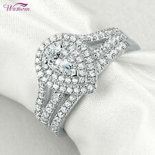 Halo Pear Cut White Cz Size 8 Wedding Rings Engagement Ring Set For Women 1.2ct