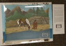 The Lone Ranger Tonto with horse Original Background Production Cel Filmation
