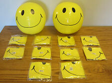 "12 NEW LARGE 15"" SMILE FACE INFLATABLE BEACH BALLS  POOL BEACHBALL PARTY FAVORS"
