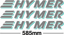 hymer motorhome decal/sticker x 3, 585mm long in 2 colours of your choice
