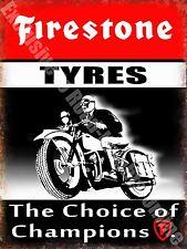 Vintage Garage Firestone Tyres, Motorcycle Motorsport, 20, Medium Metal/Tin Sign
