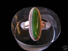 Sterling Silver Elongated Stone Jade Ring Gold Plated