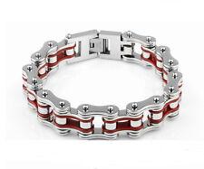 Men's Red Biker Motorcycle 316L Titanium Stainless Steel Chain Link Bracelet