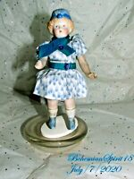 Antique 1930's Japan Antique Blue Hat Jointed Arms & legs Bisque 6'' Girl Doll