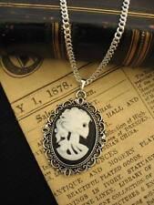 Vintage Gotico Steampunk Calavera Esqueleto Lady camafeo colgante collar de plata Wht