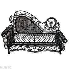 Black Wire Chaise Longue Long Sofa Sleeper 1/12 Doll's House Dollhouse Furniture