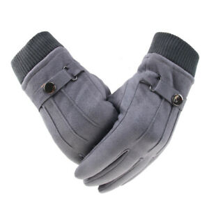 Large Size Men Winter Warm Gloves Suede-lined Full Finger Touch Screen Gloves