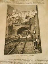 Gravure 1884 - Voie du Chemin de Fer de Lyon à Fourvière