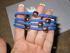 NEW Charming Charlie  Bracelet 4 blue strands and silver beads & silver hook