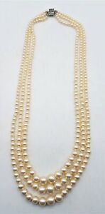 """925 Sterling Silver 3-Strand Faux Pearl Necklace 18.25"""" LB783"""