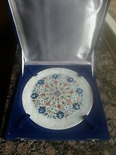 "VTG 9"" Marble Plate Lotus Flower semi Precious Pietra Dura Marquetry Inlay India"