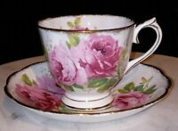 """Royal Albert """"American Beauty"""" Footed Tea Cup and Saucer - Gold Trim"""