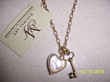 MAXIMAL ART FRESHWATER PEARL HEART & SKELETON KEY CHARMS NECKLACE NWT