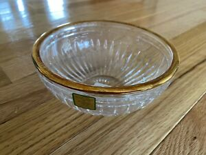 Waterford Crystal Bowl Marquis Hanover Gold Rim Bottom Hallmark New Stickers NWT