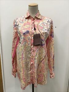 NWT Auth ETRO Cotton Blend Long Sleeve Floral Paisley Blouse Size 44 US Size 8