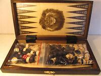 échec, jeu d'échecs + JEU DE DAMES + Backgammon échiquier 27 x 27 cm en bois