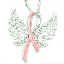 Wings Pendant Inspired Necklace AaGvx Pink Cancer Breast Awareness Ribbon Angel