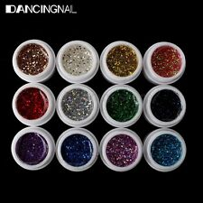 12 Pots Colors UV Gel Nail Art Tips Pure Fine Glitter Shiny Cover Manicure Set